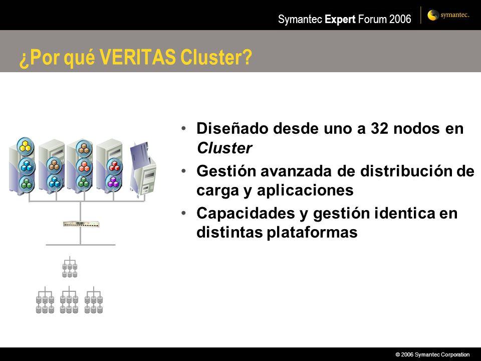 © 2006 Symantec Corporation Symantec Expert Forum 2006 ¿Por qué VERITAS Cluster? Diseñado desde uno a 32 nodos en Cluster Gestión avanzada de distribu