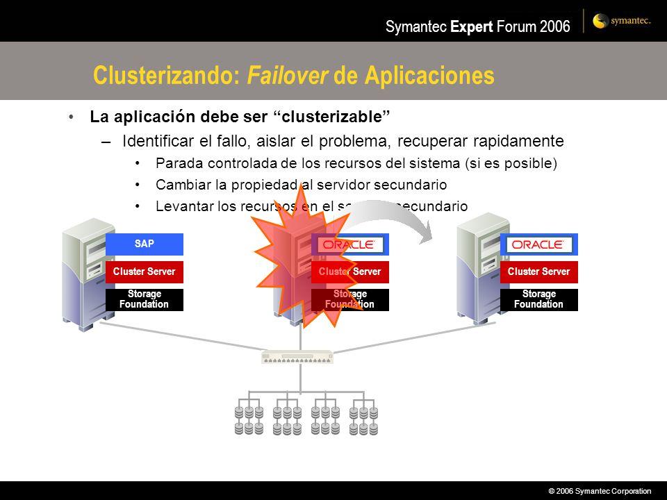 © 2006 Symantec Corporation Symantec Expert Forum 2006 Clusterizando: Failover de Aplicaciones La aplicación debe ser clusterizable –Identificar el fa