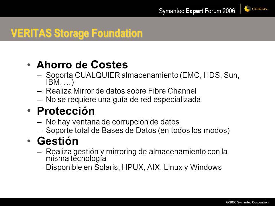 © 2006 Symantec Corporation Symantec Expert Forum 2006 Ahorro de Costes –Soporta CUALQUIER almacenamiento (EMC, HDS, Sun, IBM, …) –Realiza Mirror de d