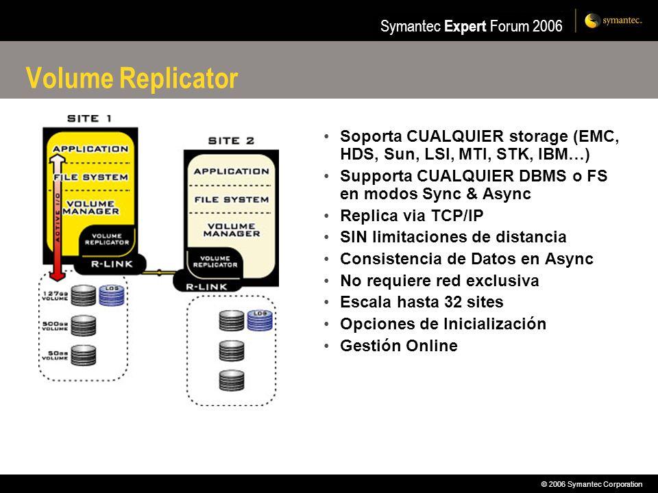 © 2006 Symantec Corporation Symantec Expert Forum 2006 Volume Replicator Soporta CUALQUIER storage (EMC, HDS, Sun, LSI, MTI, STK, IBM…) Supporta CUALQ