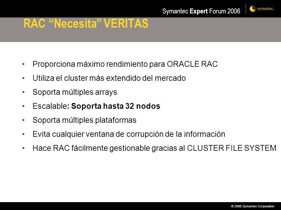 © 2006 Symantec Corporation Symantec Expert Forum 2006 RAC Necesita VERITAS Proporciona máximo rendimiento para ORACLE RAC Utiliza el cluster más exte