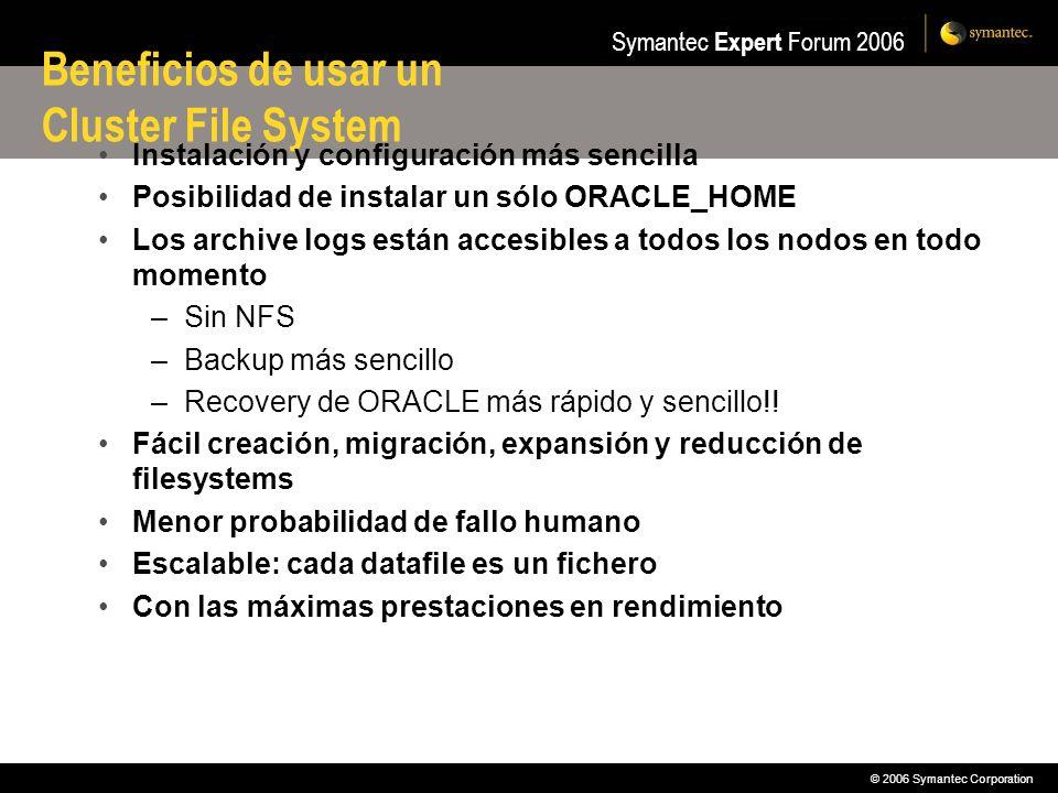 © 2006 Symantec Corporation Symantec Expert Forum 2006 Beneficios de usar un Cluster File System Instalación y configuración más sencilla Posibilidad