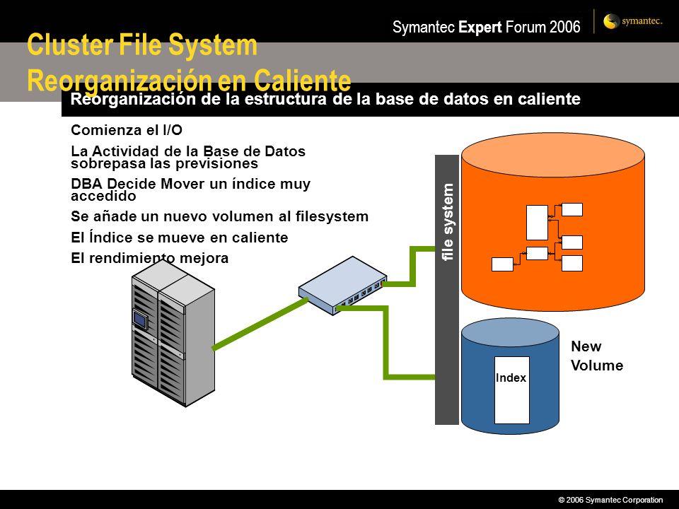 © 2006 Symantec Corporation Symantec Expert Forum 2006 Reorganización de la estructura de la base de datos en caliente Comienza el I/O La Actividad de