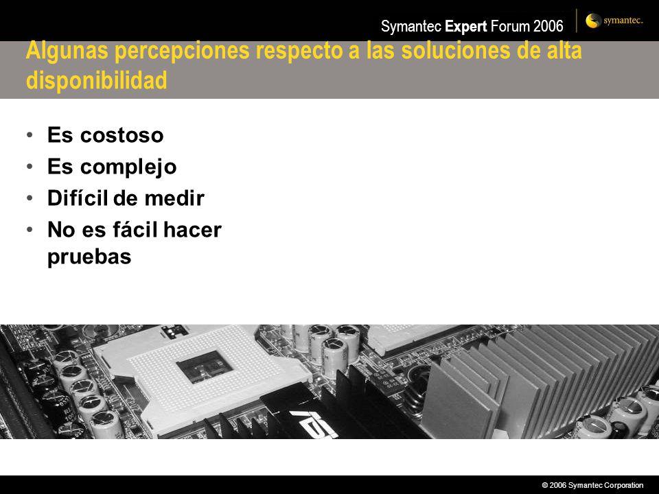 © 2006 Symantec Corporation Symantec Expert Forum 2006 Replicación Asínconra Primary SiteSecondary Site Ventajas Gran rendimiento Impacto mínimo en la aplicación Inconvenientes Secundario puede ir retrasado frente al primario Posibilidad de corrupción (no con VERITAS)