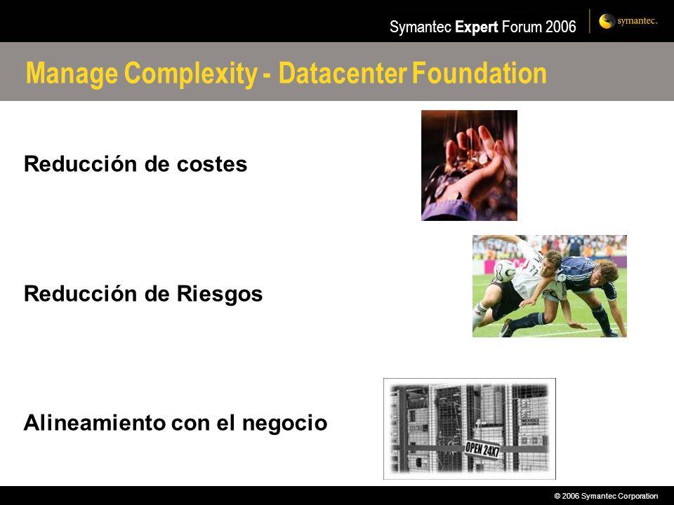 © 2006 Symantec Corporation Symantec Expert Forum 2006 Reducción de costes Reducción de Riesgos Alineamiento con el negocio Manage Complexity - Datace