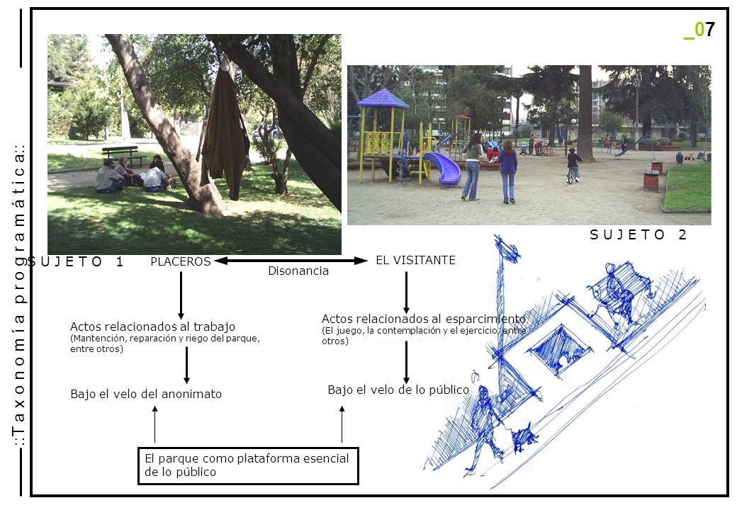 S U J E T O 1 PLACEROS S U J E T O 2 EL VISITANTE Disonancia Actos relacionados al trabajo (Mantención, reparación y riego del parque, entre otros) Actos relacionados al esparcimiento (El juego, la contemplación y el ejercicio, entre otros) Bajo el velo del anonimato Bajo el velo de lo público El parque como plataforma esencial de lo público _07 ::T a x o n o m í a p r o g r a m á t i c a::