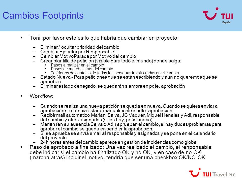 Cambios Footprints Toni, por favor esto es lo que habría que cambiar en proyecto: –Eliminar / ocultar prioridad del cambio –Cambiar Ejecutor por Respo