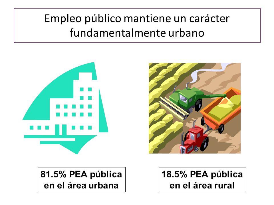 Empleo público mantiene un carácter fundamentalmente urbano 81.5% PEA pública en el área urbana 18.5% PEA pública en el área rural