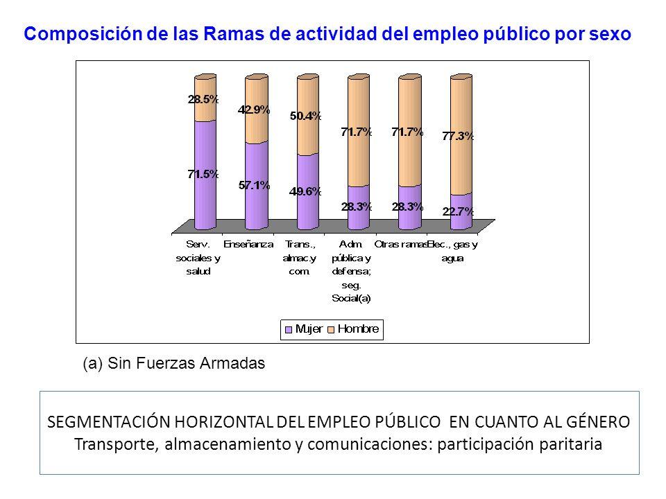 SEGMENTACIÓN HORIZONTAL DEL EMPLEO PÚBLICO EN CUANTO AL GÉNERO Transporte, almacenamiento y comunicaciones: participación paritaria Composición de las