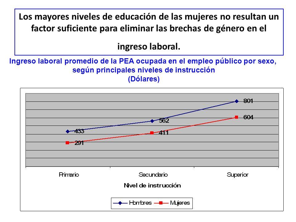Los mayores niveles de educación de las mujeres no resultan un factor suficiente para eliminar las brechas de género en el ingreso laboral. Ingreso la