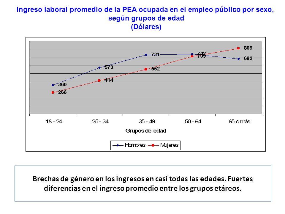 Brechas de género en los ingresos en casi todas las edades. Fuertes diferencias en el ingreso promedio entre los grupos etáreos. Ingreso laboral prome