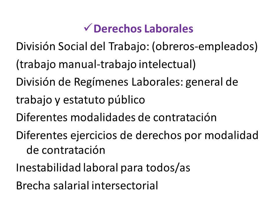 Derechos Laborales División Social del Trabajo: (obreros-empleados) (trabajo manual-trabajo intelectual) División de Regímenes Laborales: general de t
