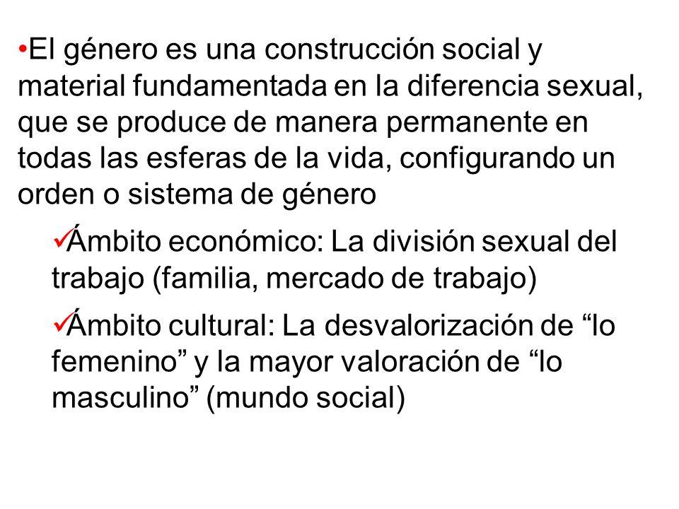 El género es una construcción social y material fundamentada en la diferencia sexual, que se produce de manera permanente en todas las esferas de la v