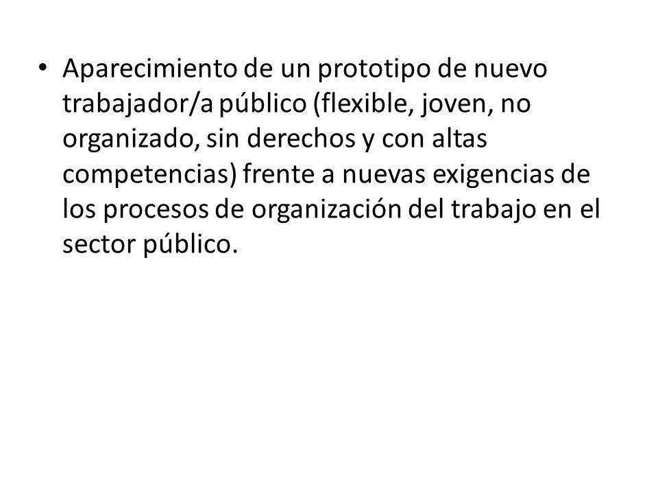 Aparecimiento de un prototipo de nuevo trabajador/a público (flexible, joven, no organizado, sin derechos y con altas competencias) frente a nuevas ex