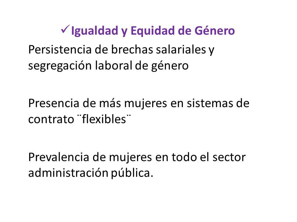 Igualdad y Equidad de Género Persistencia de brechas salariales y segregación laboral de género Presencia de más mujeres en sistemas de contrato ¨flex