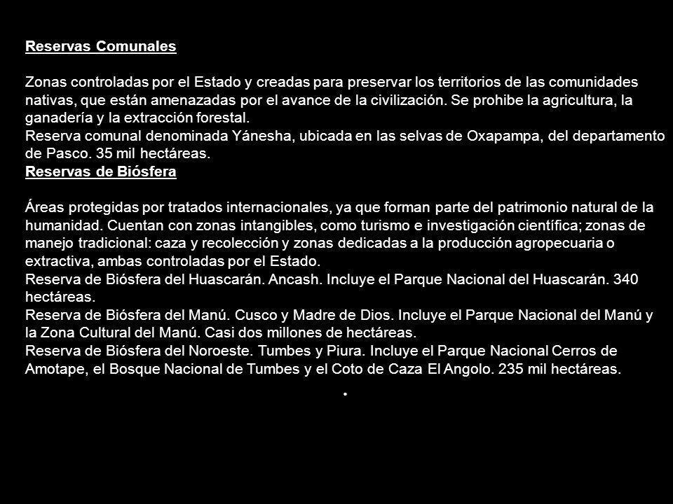 Parques Nacionales El Perú tiene 7 parques nacionales registrados en las Naciones Unidas; donde se prohíbe la explotación de sus recursos, para evitar