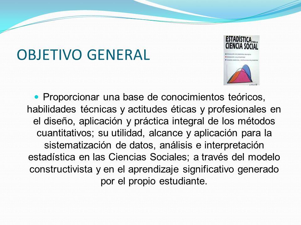 OBJETIVO GENERAL Proporcionar una base de conocimientos teóricos, habilidades técnicas y actitudes éticas y profesionales en el diseño, aplicación y p