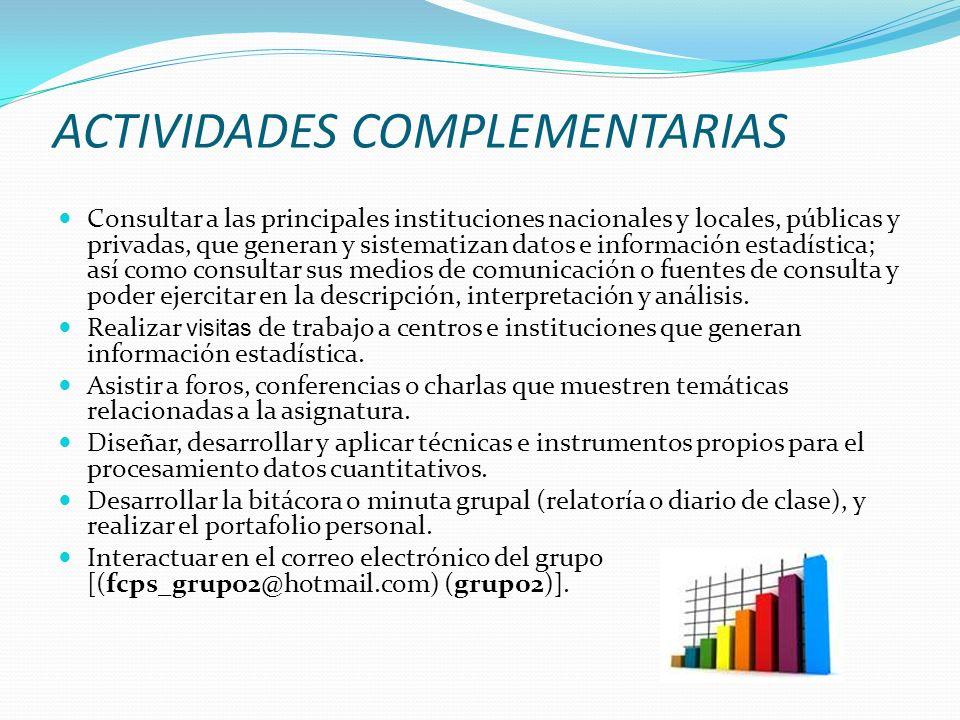 ACTIVIDADES COMPLEMENTARIAS Consultar a las principales instituciones nacionales y locales, públicas y privadas, que generan y sistematizan datos e in