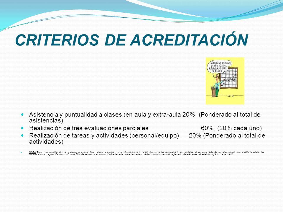CRITERIOS DE ACREDITACIÓN Asistencia y puntualidad a clases (en aula y extra-aula 20% (Ponderado al total de asistencias) Realización de tres evaluaci