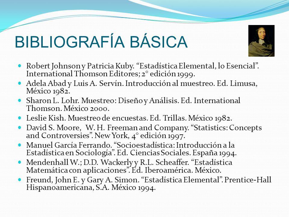 BIBLIOGRAFÍA BÁSICA Robert Johnson y Patricia Kuby. Estadística Elemental, lo Esencial. International Thomson Editores; 2° edición 1999. Adela Abad y