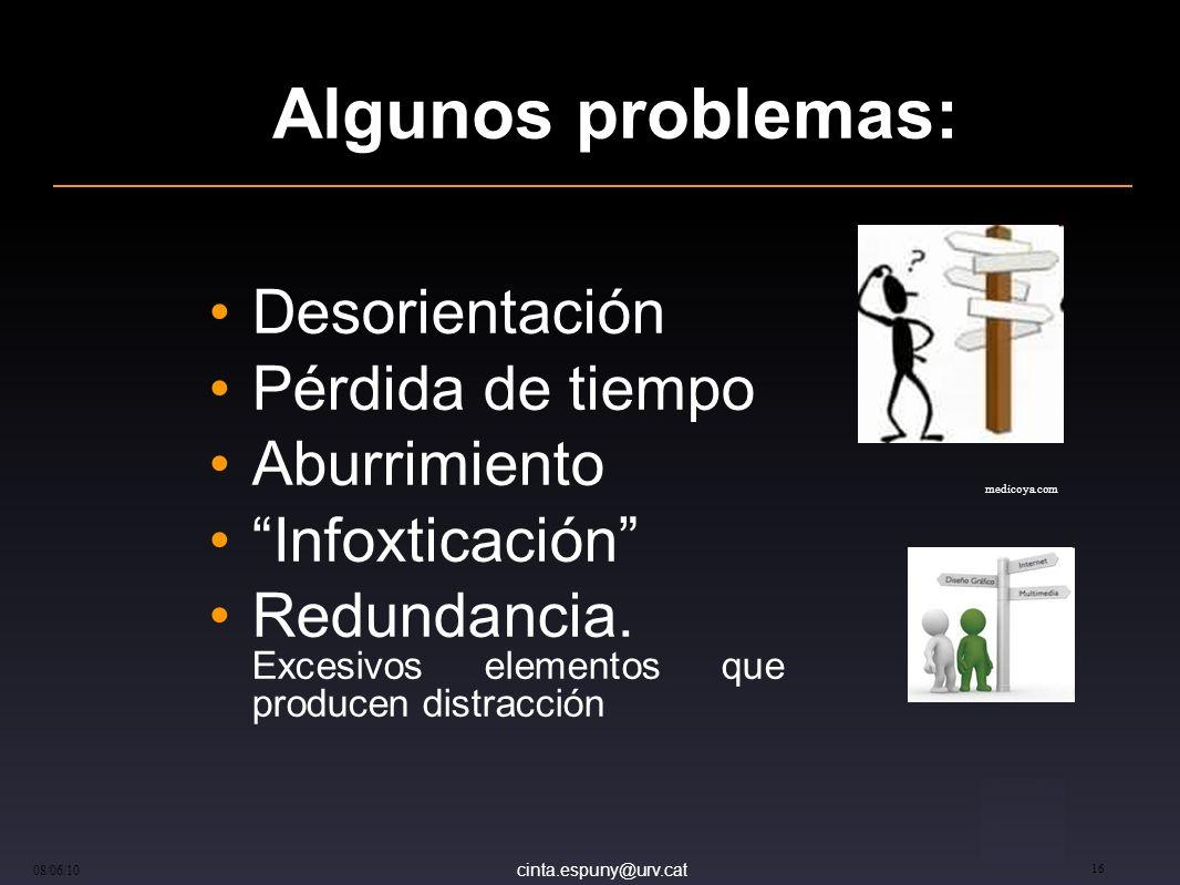 cinta.espuny@urv.cat 08/06/10 16 Algunos problemas: Desorientación Pérdida de tiempo Aburrimiento Infoxticación Redundancia.