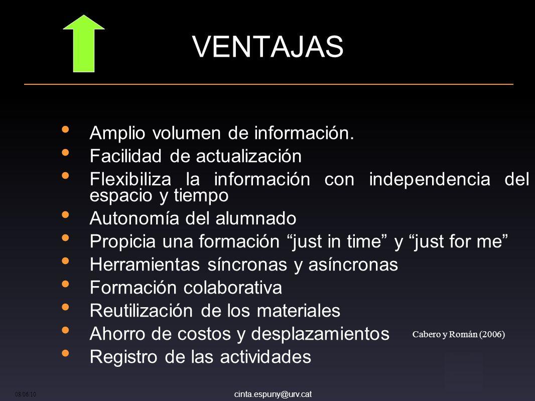 cinta.espuny@urv.cat 08/06/10 VENTAJAS Amplio volumen de información.