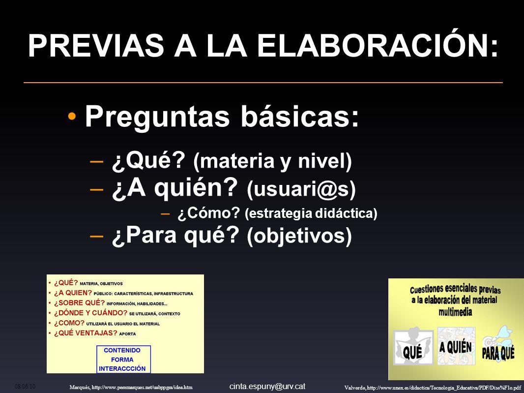 cinta.espuny@urv.cat 08/06/10 3 PREVIAS A LA ELABORACIÓN: Preguntas básicas: – ¿Qué.