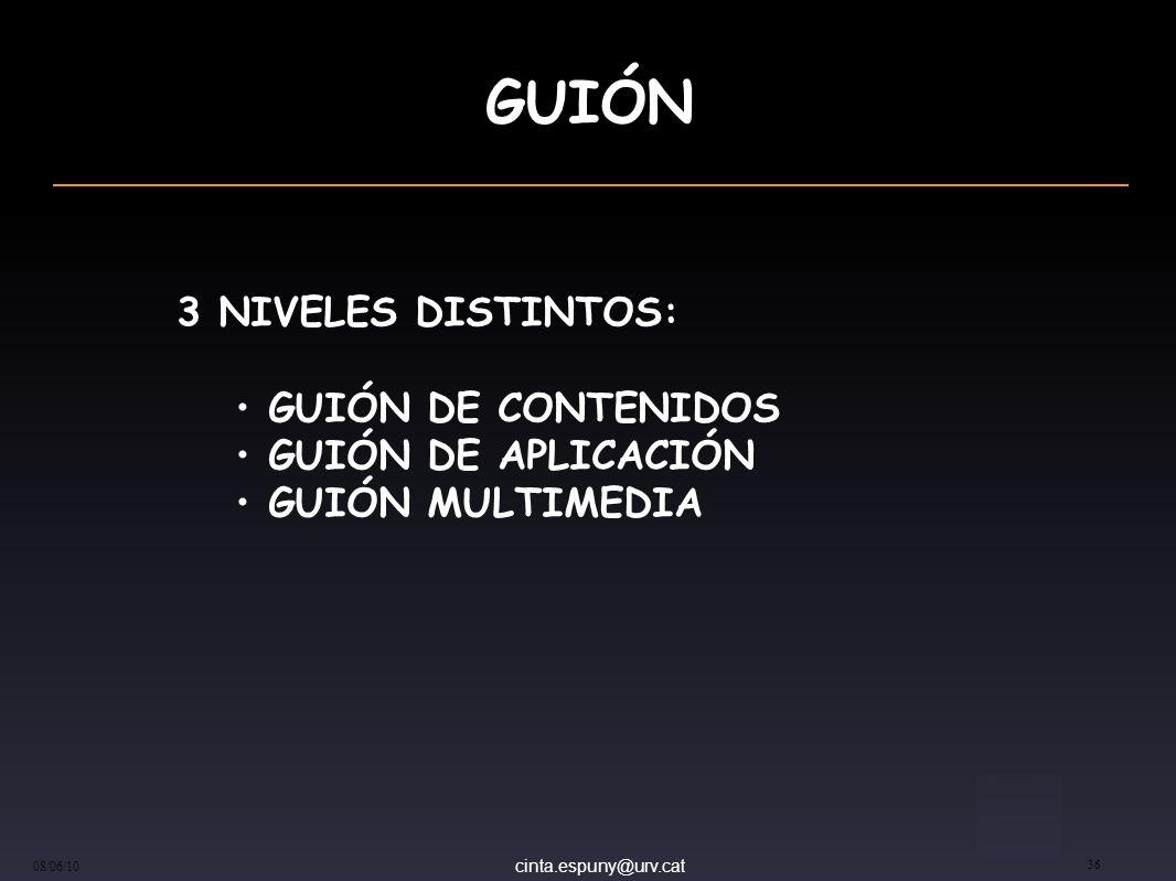 cinta.espuny@urv.cat 08/06/10 36 GUIÓN 3 NIVELES DISTINTOS: GUIÓN DE CONTENIDOS GUIÓN DE APLICACIÓN GUIÓN MULTIMEDIA