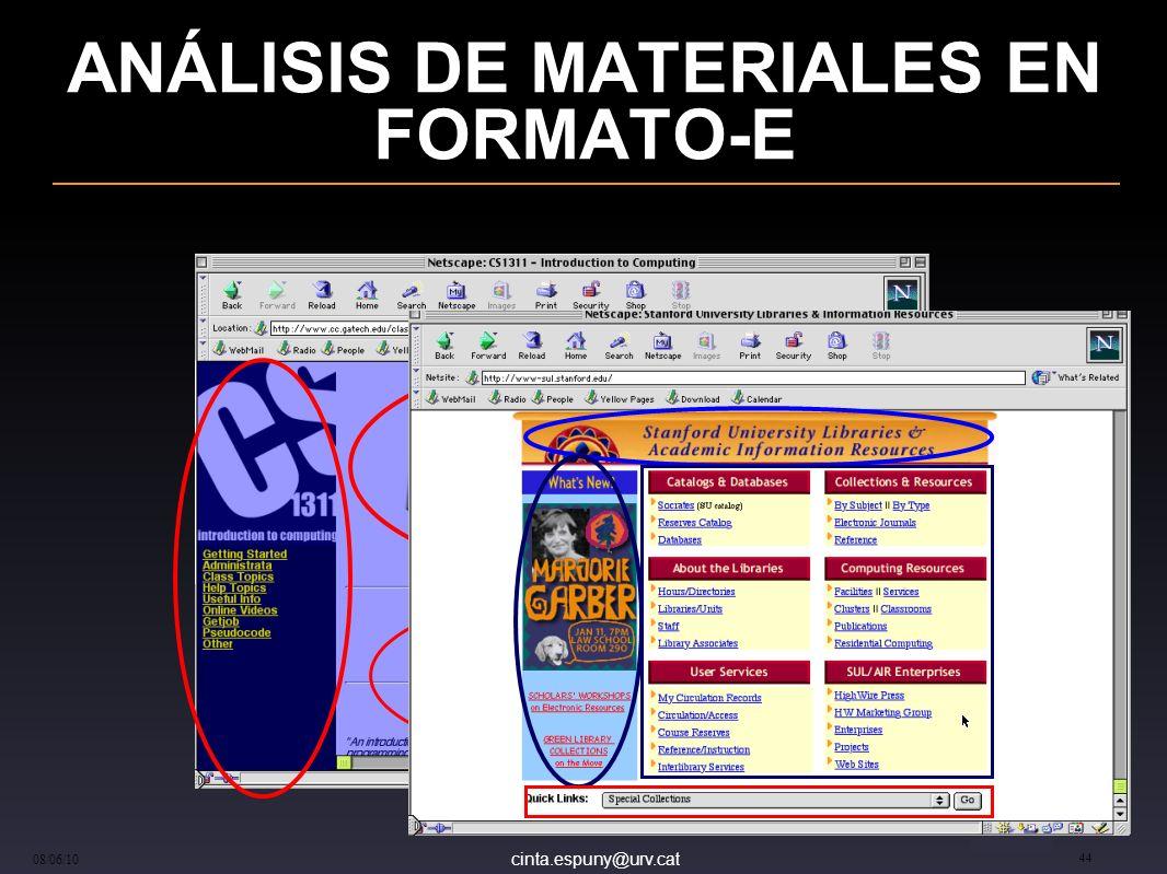 cinta.espuny@urv.cat 08/06/10 44 ANÁLISIS DE MATERIALES EN FORMATO-E