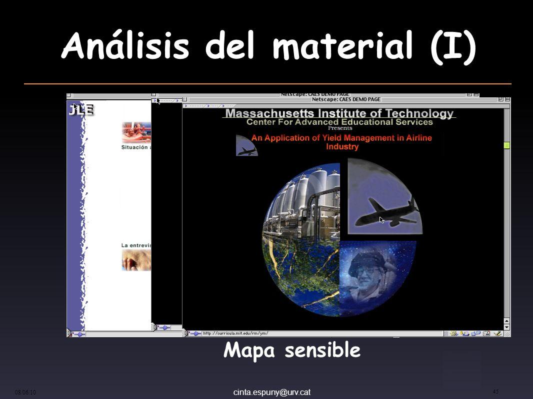 cinta.espuny@urv.cat 08/06/10 45 Análisis del material (I) Mapa sensible