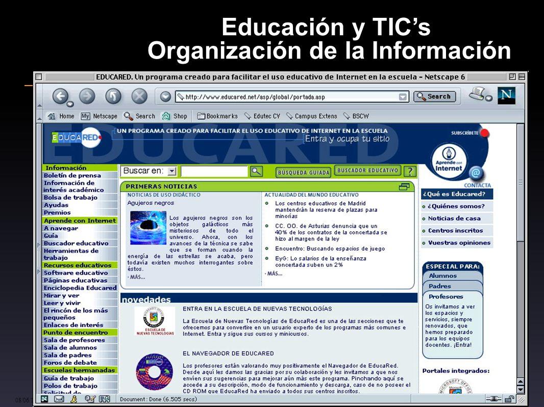 cinta.espuny@urv.cat 08/06/10 48 Educación y TICs Organización de la Información