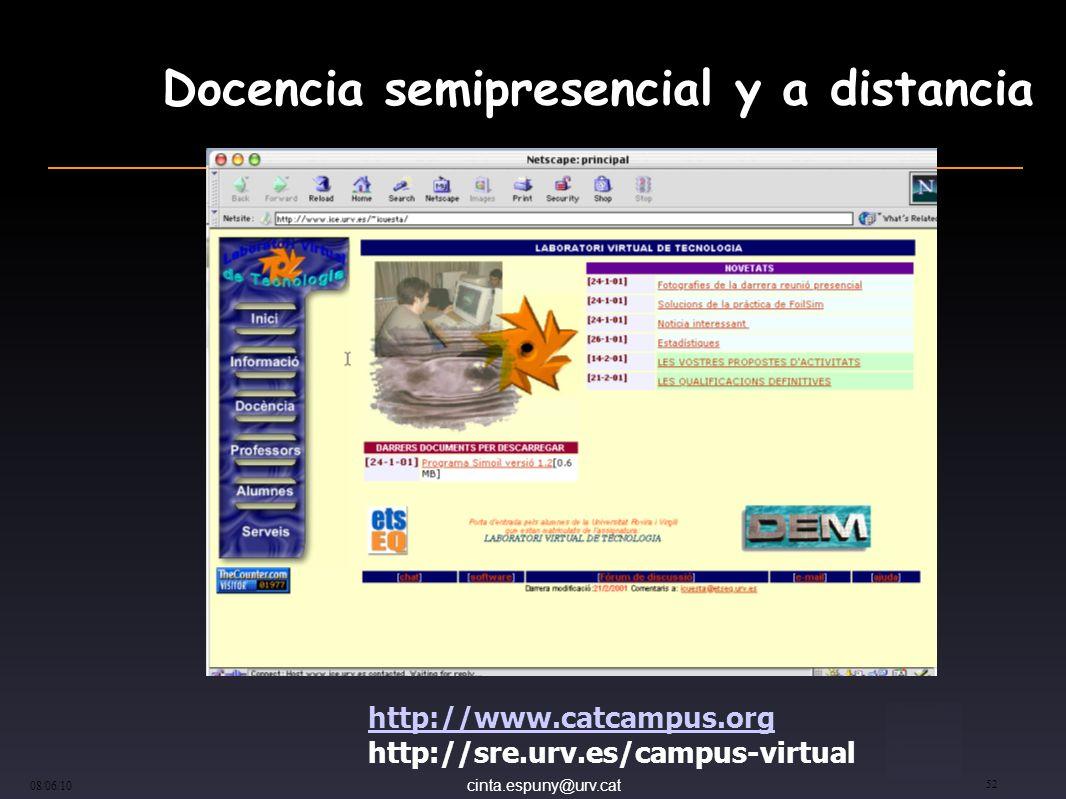 cinta.espuny@urv.cat 08/06/10 52 Docencia semipresencial y a distancia http://www.catcampus.org http://sre.urv.es/campus-virtual