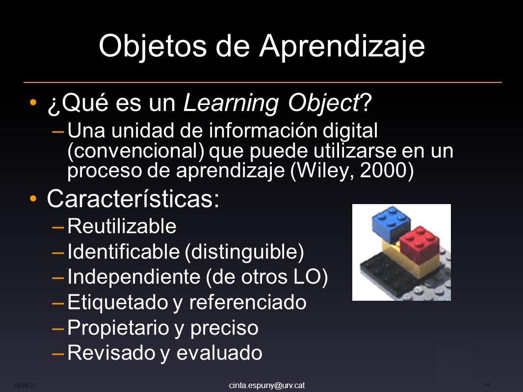 cinta.espuny@urv.cat 08/06/10 54 Objetos de Aprendizaje ¿Qué es un Learning Object.