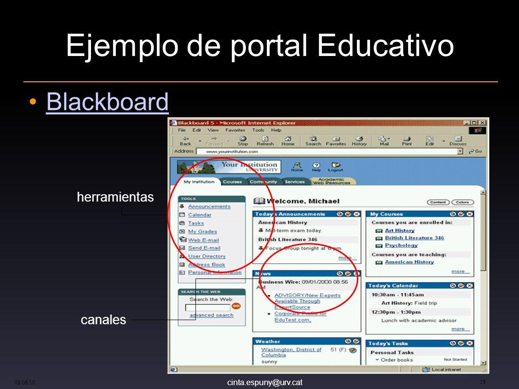 cinta.espuny@urv.cat 08/06/10 56 Ejemplo de portal Educativo Blackboard canales herramientas