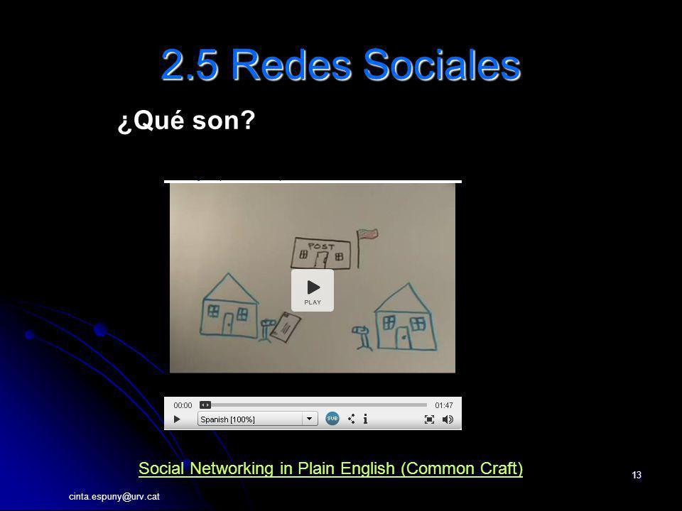 cinta.espuny@urv.cat 13 2.5 Redes Sociales ¿Qué son? Social Networking in Plain English (Common Craft)