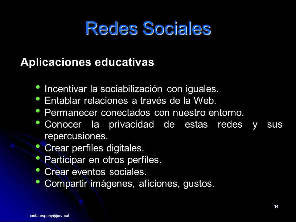cinta.espuny@urv.cat 14 Redes Sociales Aplicaciones educativas Incentivar la sociabilización con iguales. Entablar relaciones a través de la Web. Perm