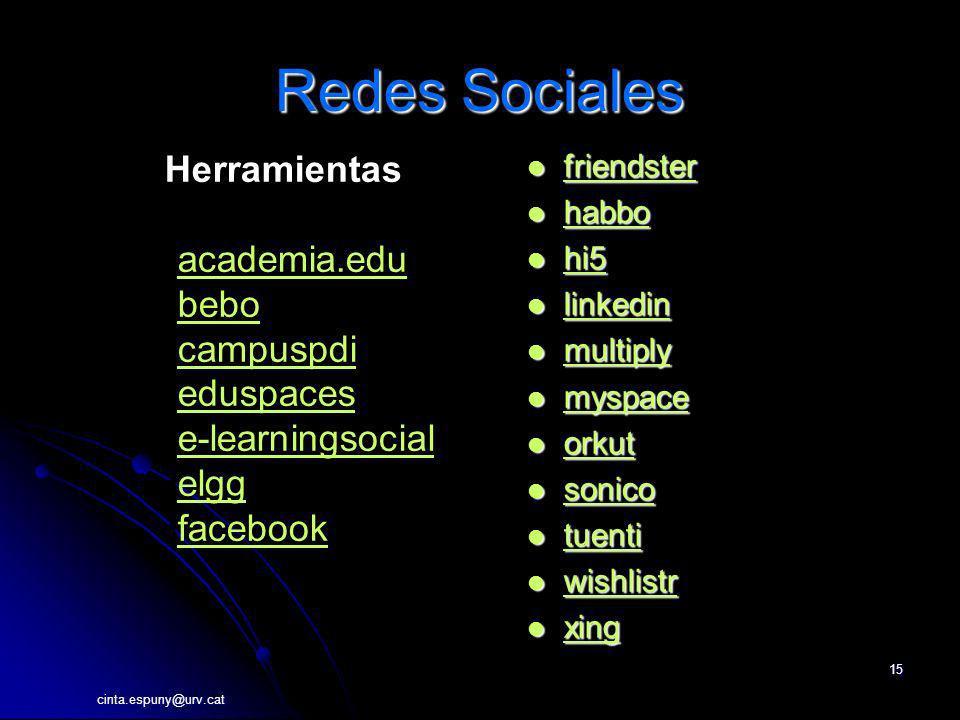 cinta.espuny@urv.cat 15 Redes Sociales friendster friendster friendster habbo habbo habbo hi5 hi5 hi5 linkedin linkedin linkedin multiply multiply mul