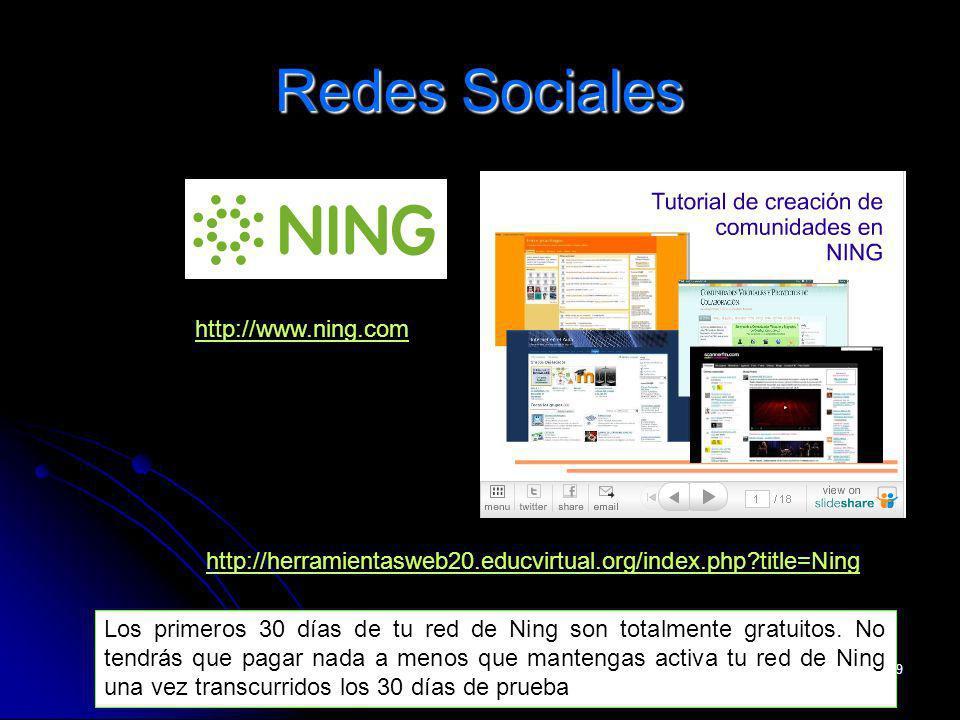 cinta.espuny@urv.cat 19 Redes Sociales http://herramientasweb20.educvirtual.org/index.php?title=Ning http://www.ning.comhttp://www.ning.com/ Los primeros 30 días de tu red de Ning son totalmente gratuitos.