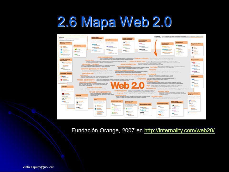 cinta.espuny@urv.cat 2.6 Mapa Web 2.0 Fundación Orange, 2007 en http://internality.com/web20/http://internality.com/web20/