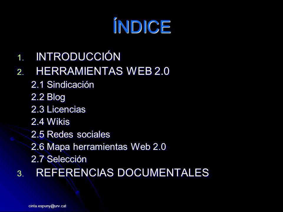 cinta.espuny@urv.cat Herramientas Web 2.0 Compartir vídeos Sclipo (skills-videos)Sclipo 11870 YouTube Google Video DailyMotion DaleAlPlay Tu.tv Zudeo Zhube esFresh (videos musicales)esFresh [1] Magnify Megavideo http://wiki.startup2.eu/index.php/Mapa_Web_2.0 Extensión navegador.