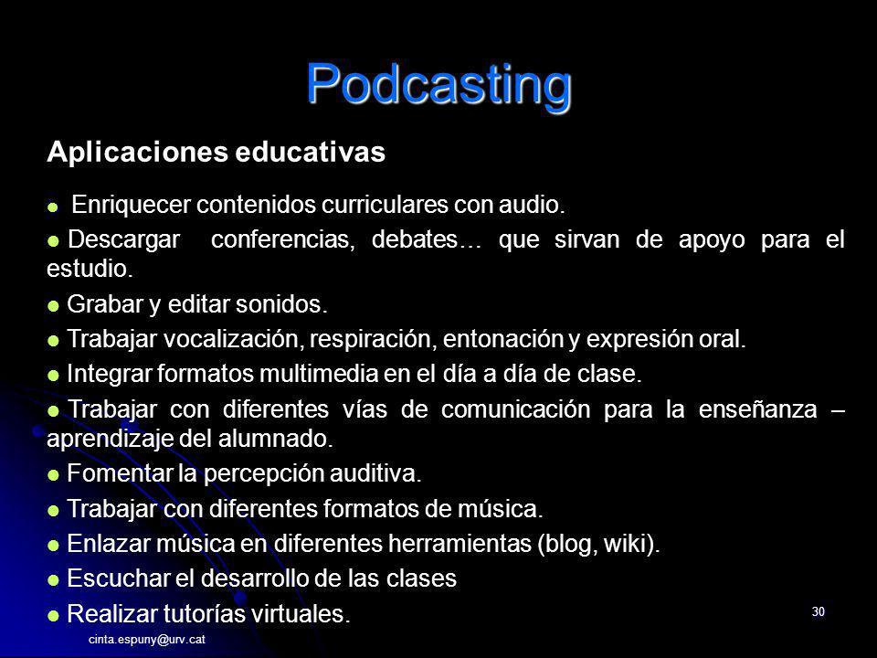 cinta.espuny@urv.cat 30 Podcasting Aplicaciones educativas Enriquecer contenidos curriculares con audio. Descargar conferencias, debates… que sirvan d