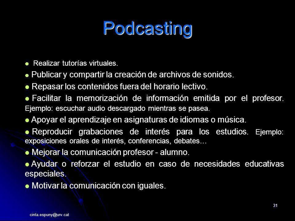 cinta.espuny@urv.cat 31 Podcasting Realizar tutorías virtuales. Publicar y compartir la creación de archivos de sonidos. Repasar los contenidos fuera