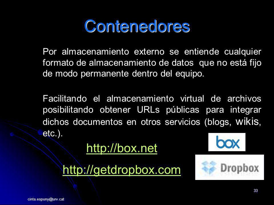 cinta.espuny@urv.cat 33 Contenedores http://box.net http://getdropbox.com Por almacenamiento externo se entiende cualquier formato de almacenamiento d