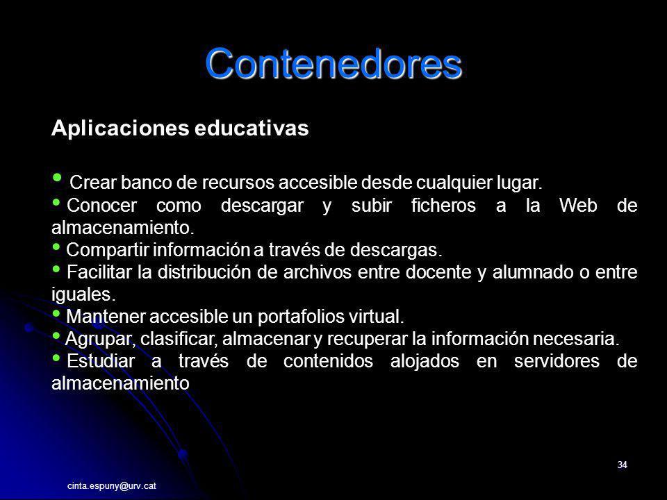 cinta.espuny@urv.cat 34 Contenedores Aplicaciones educativas Crear banco de recursos accesible desde cualquier lugar. Conocer como descargar y subir f