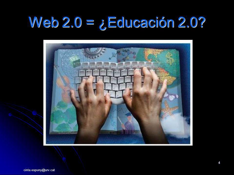 cinta.espuny@urv.cat 4 Web 2.0 = ¿Educación 2.0?
