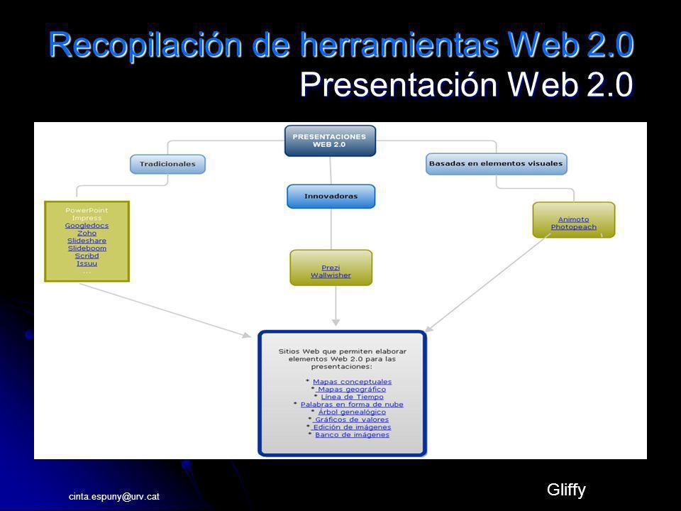Recopilación de herramientas Web 2.0 Presentación Web 2.0 Gliffy