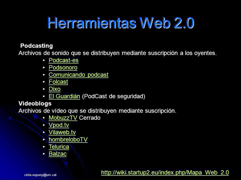 cinta.espuny@urv.cat Herramientas Web 2.0 Podcasting Archivos de sonido que se distribuyen mediante suscripción a los oyentes. Podcast-es Podsonoro Co