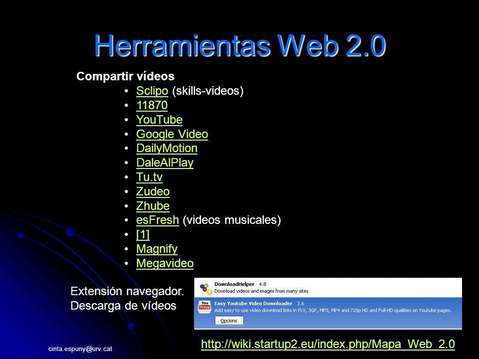 cinta.espuny@urv.cat Herramientas Web 2.0 Compartir vídeos Sclipo (skills-videos)Sclipo 11870 YouTube Google Video DailyMotion DaleAlPlay Tu.tv Zudeo