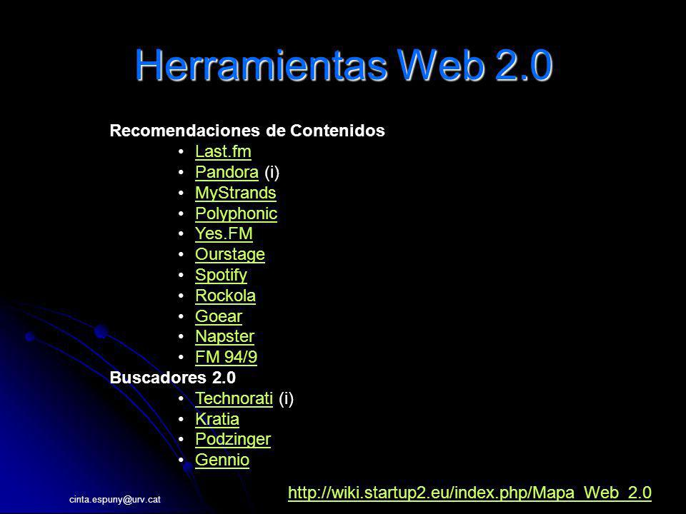 cinta.espuny@urv.cat Herramientas Web 2.0 Recomendaciones de Contenidos Last.fm Pandora (i)Pandora MyStrands Polyphonic Yes.FM Ourstage Spotify Rockola Goear Napster FM 94/9 Buscadores 2.0 Technorati (i)Technorati Kratia Podzinger Gennio http://wiki.startup2.eu/index.php/Mapa_Web_2.0