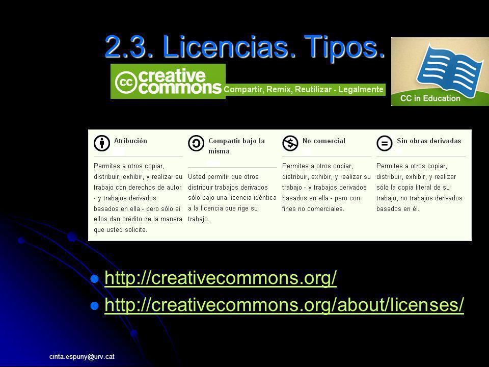 cinta.espuny@urv.cat 2.3. Licencias. Tipos. http://creativecommons.org/ http://creativecommons.org/about/licenses/